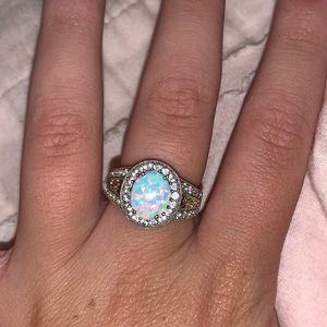 Zales Sterling Silver Opal Ring